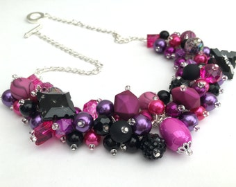 Chunky Beaded Necklace, Purple Cluster Necklace, Beaded Jewelry, One of a Kind Jewelry, Gift For Her, Purple Black Hot Pink, Chunky Beads