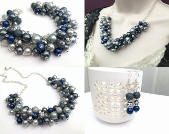 Pearl Beaded Jewelry Set, Silver Gray Navy and Slate Necklace Bracelet and Earrings, Cluster Jewelry, Wedding Sets Bridesmaids Gifts, Chunky