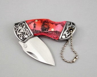 Scrimshaw Knife, Dyed Pink Cow Bone, Lockback knife, Key Chain Knife, Ship and Lighthouse Nautical Design
