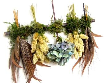 Black Brown Blue Hydrangea and Wheat Dried Flower Swag Sampler