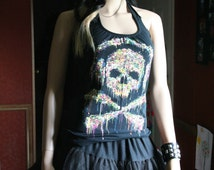 Skull and Crossbones with headphones tank top halter neck upcycled small medium large xlarge plus size 3xl