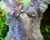 Valentines Sale Lilac, ribbon, ruffle ,satin , lace, bra, waist cincher, set, victorian, vaudeville, custom, pin-up, burlesque, by vintage o
