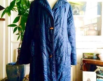 1980's Vintage Grunge  Navy blue wood toggle button jacket/coat. size Large