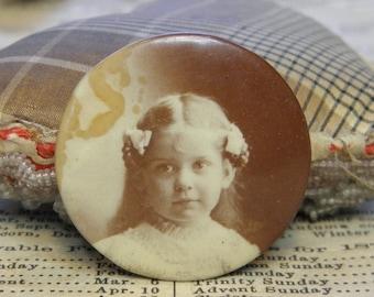 Antique Sepia Photo Badge Pin Girl 1800s