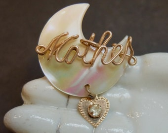 Vintage Mother's Day Pin Pearl Script Heart Charm