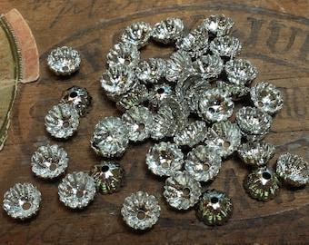 7mm Vintage Bead Caps White Metal Supply 40pcs
