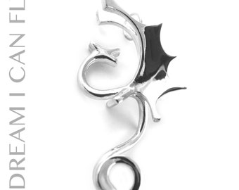 Dragon necklace in polished sterling silver - Dragon pendant