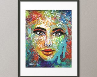 Gallery Canvas and Fine Art Prints Figurative Femme Fatale Portrait People Woman Contemporary Modern Abstract Colorful Art