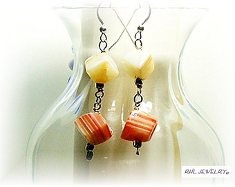 Carnelian Earrings, Orange and White Carnelian, Asymentric Jewelry, Cube Dice Chakra Earrings - E2010-11