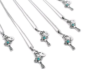 Personalized Bridesmaids Necklaces, Bridesmaids Necklace Set, Bridesmaids Gift, Dainty Initial, Bridesmaids Birthstone, 37 Crystal Colors