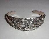 Vtg Detailed Southwest Sterling Cuff Bracelet- Small Wrist Sz-Signed R. STERLING