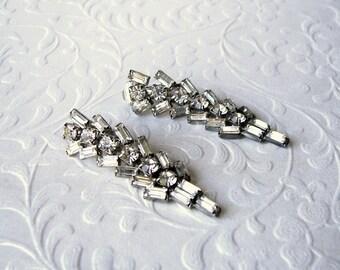 Elegant Baguette Rhinestone Dangle Earrings Clip Back Wedding Vintage Bridal Jewelry Pageant Ballroom Costume Accessory Formal Evening Prom