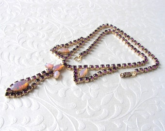 Fire Opal Jelly Glass Necklace Dragons Breath Cabochon Amethyst Rhinestone Vintage Costume Jewelry Boho Chic Formal Wedding Pageant Ballroom