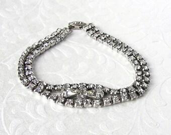 Vintage Rhinestone Bracelet Bridal Evening Formal Wedding 7.25 inch Pageant Ballroom Prom Classic 1950s Costume Jewelry Pear Shape Stones