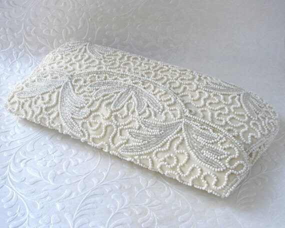 WALBORG Vintage Beaded Purse Glass Bead Envelope Clutch Leaf Design Silk White Wedding Formal Handbag Evening Bag Bridal Hand Made Belgium