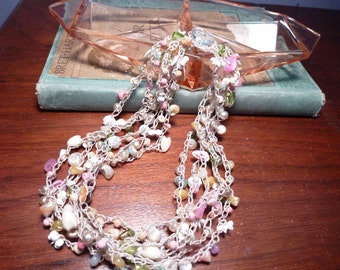 Beach Garden - Handmade bead and Shell Crochet Necklace in Pastels with Variety of Beads, Shells in 6 Strands