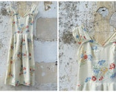 reserverd to bentonkristy   Vintage 1940/40s French floral rayon viscosa wrapped dress size XS