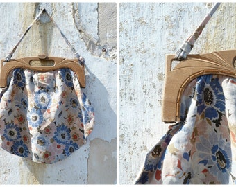 Vintage Antique 1920/1930 French floral cotton and wood opener bag