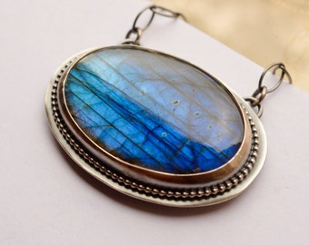 Large Silver Labradorite Necklace, Artisan Jewelry, Handmade Unique Modern Rustic Jewelry, Modern Metalwork, Silversmith Jewelry