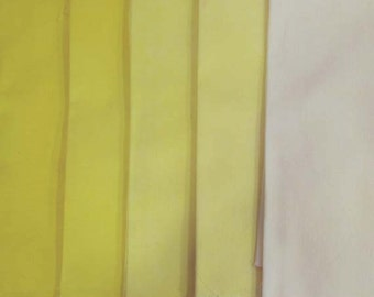 Clear YELLOW Shades - hand dyed Fabric - 5 pc Fat Quarter Gradation Bundle - Tuscan Rose CY301