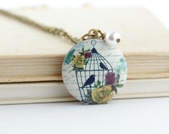 Bird Locket Pendant - Nature Jewelry - Gift For Woman - Bird Cage Locket Pendant - Picture Locket - Photo Locket - Locket Necklace