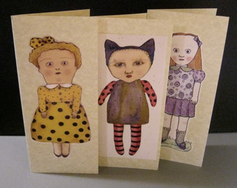 greeting cards- sandy mastroni illustrations, set three cards- handmade, 3 cards, blank inside, parchment card stock