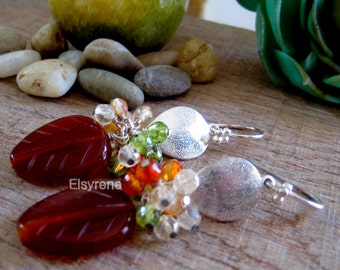 Carnelian stone Earrings-Drop  Lotus Cluster Gem earrings-Statement teardrop multi gem earrings-bridal Bridesmaid Earrings-Zen earrings