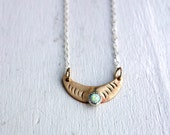 Hammered Opal and Brass Crescent Moon Pendant