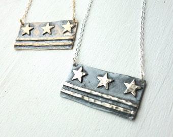 Washington DC Flag Necklaces- Sterling or Bronze
