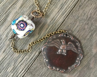 Vintage repurposed one of a kind bird medal pendant and vintage bone millefiori bead necklace