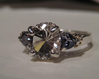 Danburite and Iolite Ring ... Sterling Silver and 14 kt Yellow Gold ...  Size  6 1/2 .. e804