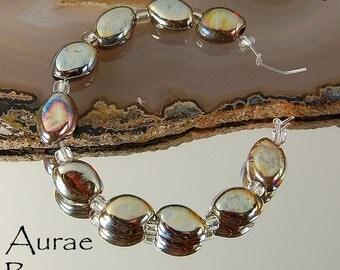 8 Aurae Beans Golden Silvery Handmade Lampwork Beads by Beadfairy Lampwork, SRA