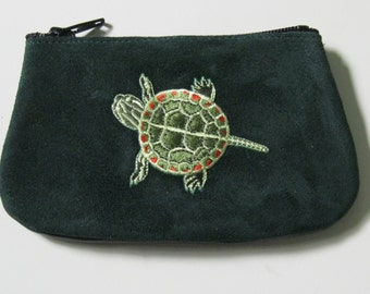 LITTLE PAINTED TURTLE or Red Slider, Coin Purse on  Black Leather Suede