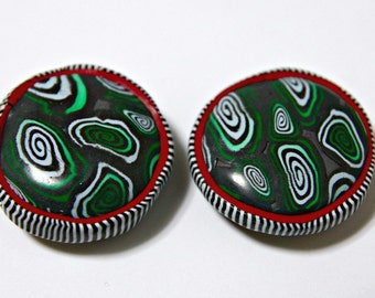 Large Polymer Clay Focal Beads in Greens Blues Red and Black and White Border Stripes So Quirky Unique and Fun