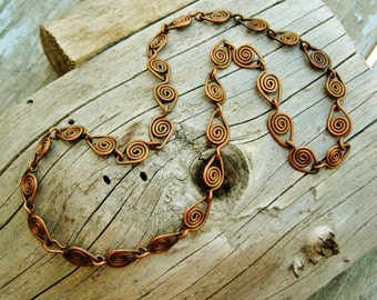 Copper Parade Necklace - wire wrapped antiqued copper link necklace