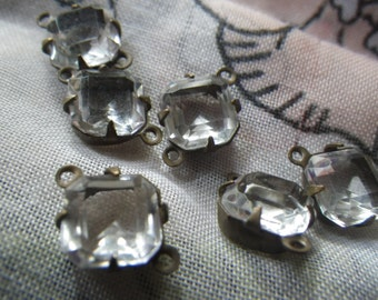 Crystal Clear Vintage Square Octagon 8x8mm Unfoiled Glass Connectors Two Loops 6 Pcs
