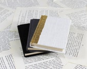 Hardcover Mini Linen Notebook in Black, Gray or White with Gold Leaf Decoration