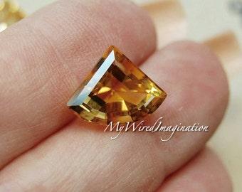 Faceted Genuine Citrine Fan Shape, Designer Shape Citrine, Genuine Citrine, Jewelry Supply, November Birthstone, Faceted No Hole Gemstone