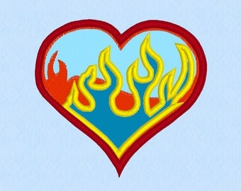 Burning Love Heart on Fire Applique machine embroidery design file