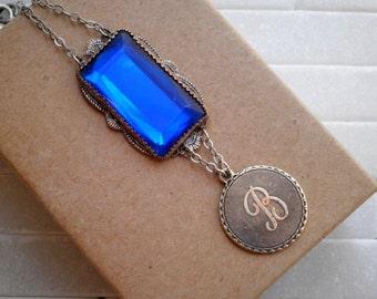 Vintage Initial Letter B & Blue Sapphire Rhinestone Long Chain Necklace. Antique Silver Cursive Letter B Retro Pendant. Personalized Jewelry