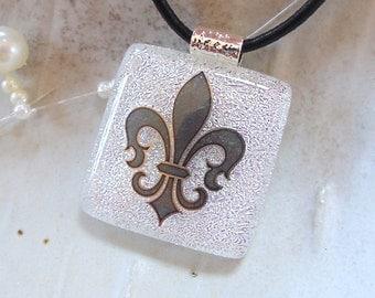 Dichroic Glass Pendant, Fleur-de-lis, Fused Glass Jewelry, Necklace, Silver, Enamel, Necklace Included, A1