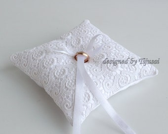 White embroidered lace Wedding pillow  ---ring bearer pillow, wedding rings pillow , wedding pillow