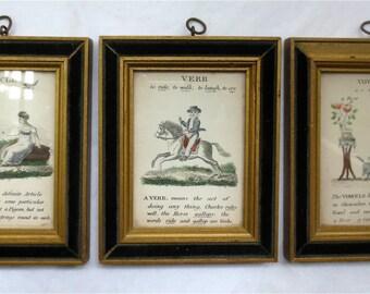 Grammar Lessons - Vintage H. Hal Kramer Prints - Set of Three -  Article Verb and Vowel - Sweet Small Colored Lithos - Vintage 1960s