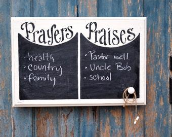 Prayers and Praises Chalkboard - READY TO SHIP - verse of week - scripture board - sunday school - homeschool