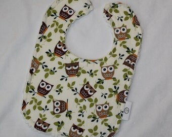 Brown and Green Owls Fabric and Chenille Boutique Bib