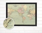"Vintage World Map Wall Art, Customized ""Map of the World"", Pushpin Travel Map"