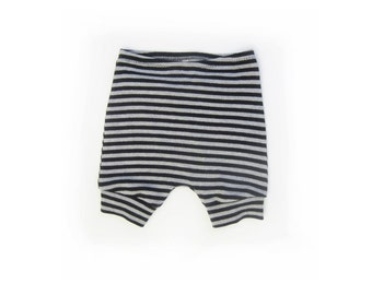 kids stripe cotton shorts, baby diaper cover, cotton knit baby pants, baby toddler shorties (black / grey stripe)
