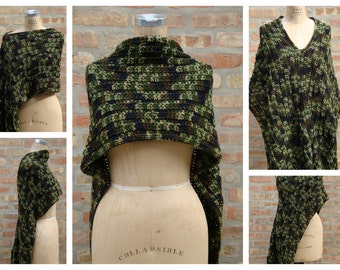 Camoflague Blend Poncho - Shawl - Coverup - Sweater- Hand Crochet - Custom Colors