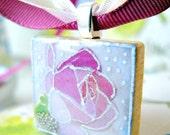 Scrabble tile necklace Scrabble tile pendant Christmas stocking stuffers Pink Blush Silver Rose Baby shower favors Bachelorette party favors