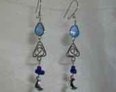 Dark Blue Murano Glass Teardrop Peruvian Style Earrings